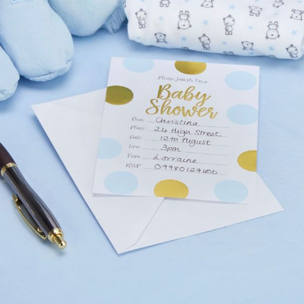 Pattern Works Blue Baby Shower Invitations (10)